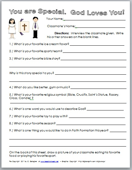Free First Day Printables For CCD - Teaching Heart Blog Teaching ...