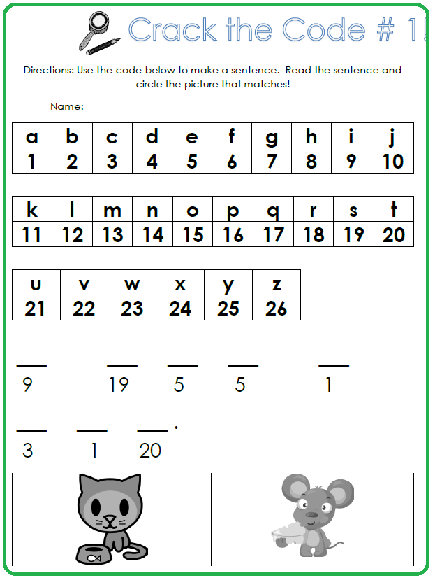 Crack the code worksheets printable