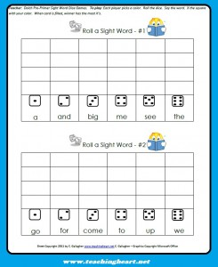 Sight Word Dice Game – Teaching Heart Blog