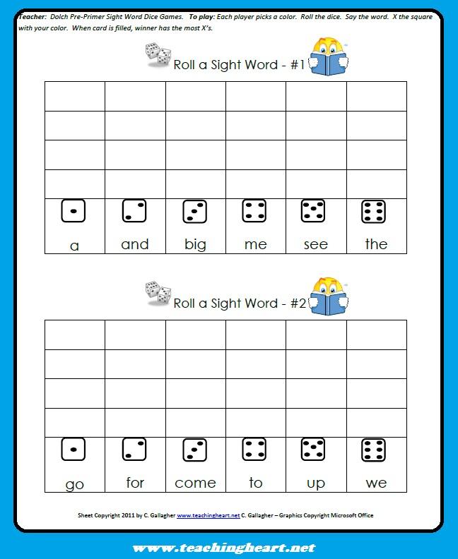 Sight Word Dice Game - Teaching Heart Blog Teaching Heart Blog