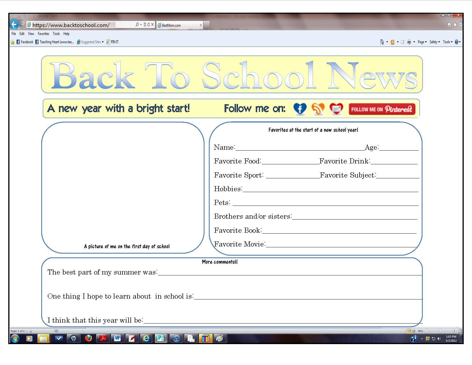 Click here to print the form for Back To School News!
