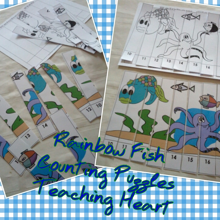 Rainbow Fish Worksheets Rainbow Fish Counting Puzzles