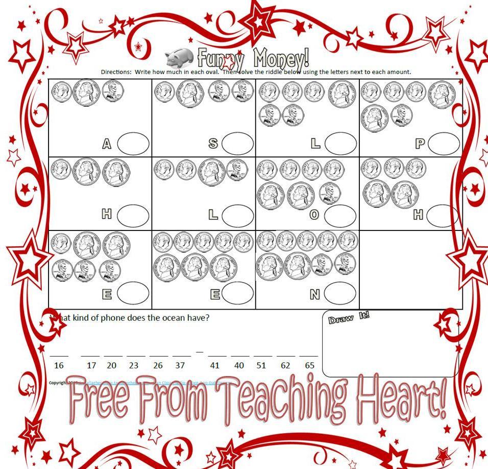 free funny money activity sheets teaching heart blog teaching