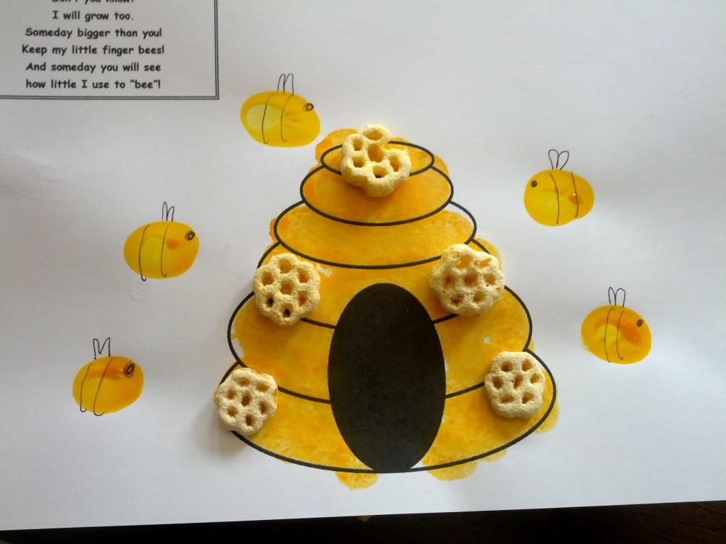 Bee Fingerprint Craft Teaching HEart