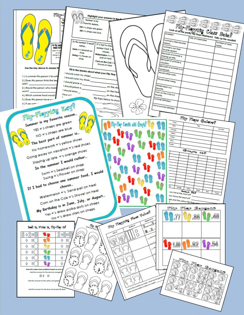 Flip Flop Math Themed Activities