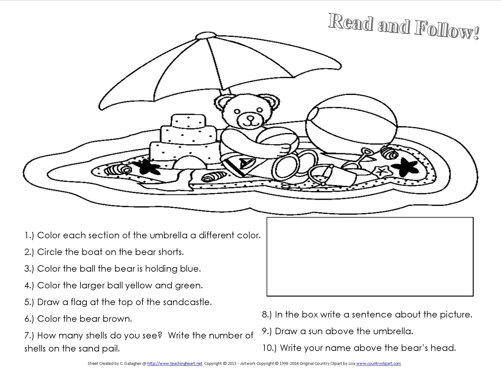 A Beach Unit Beach lessons links ideas and more for the – Following Directions Worksheets Kindergarten