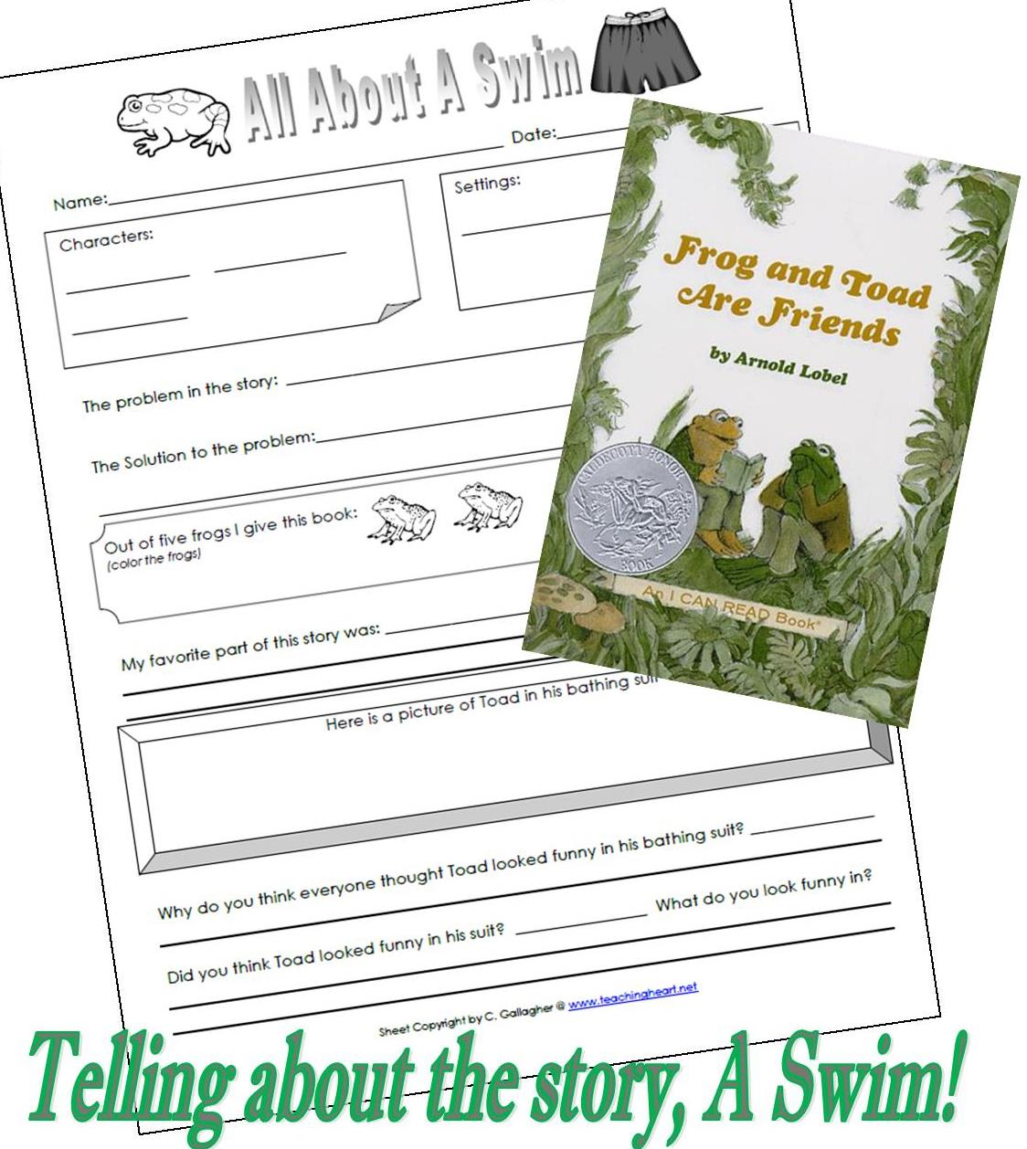 Worksheets Frog And Toad Together Worksheets frog and toad are friends a swim teaching heart blog free printable
