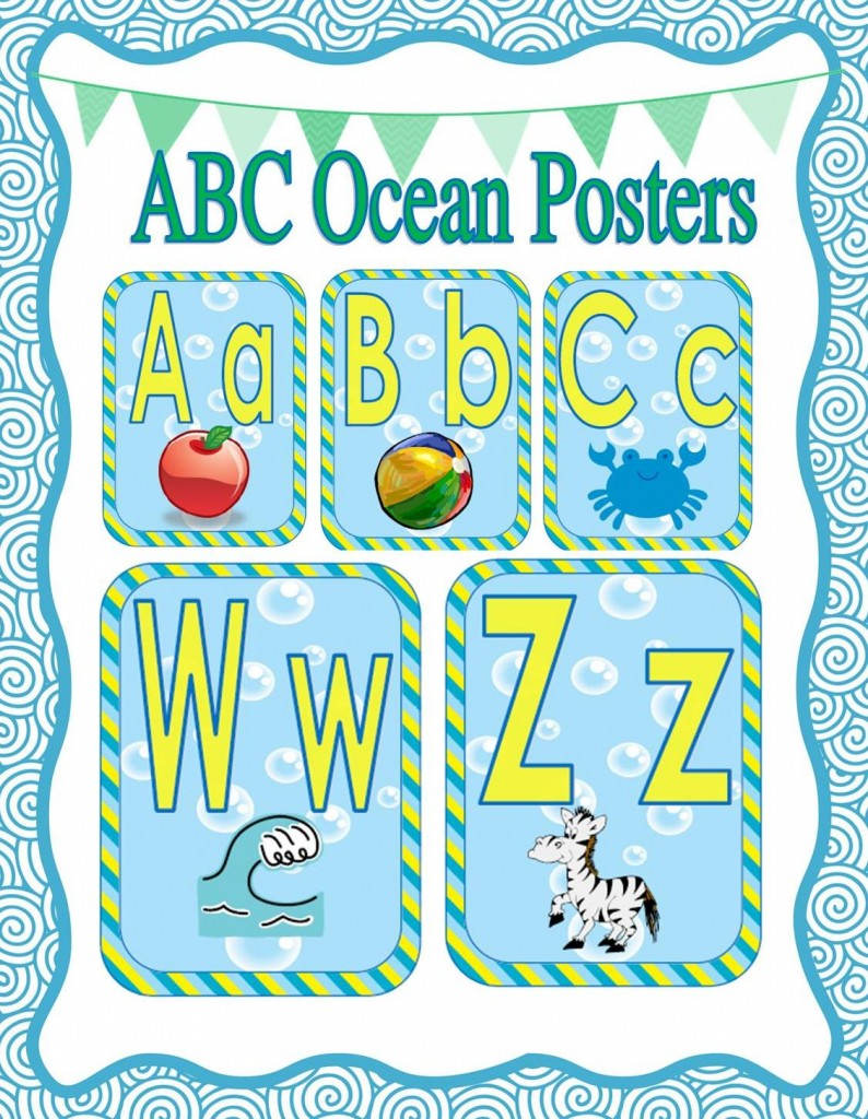 Ocean Decor Themed ABC posters