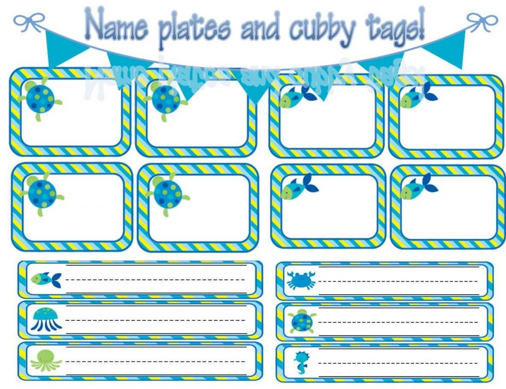 Ocean Themed Name Plates and Cubby Tags