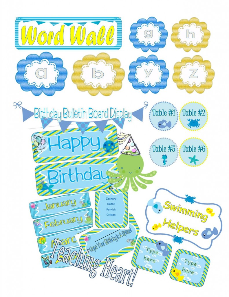 Classroom Decoration Word Worksheets ~ Ocean themed classroom decorations and forms teaching