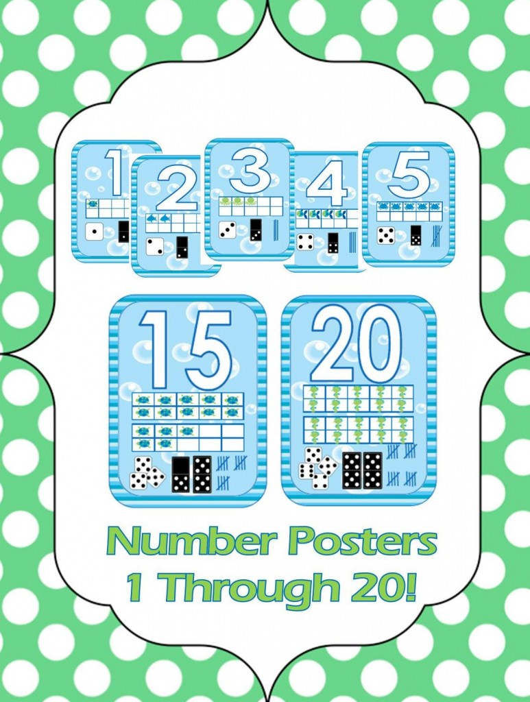 Ocean Decor Number Poster Set From Teaching Heart