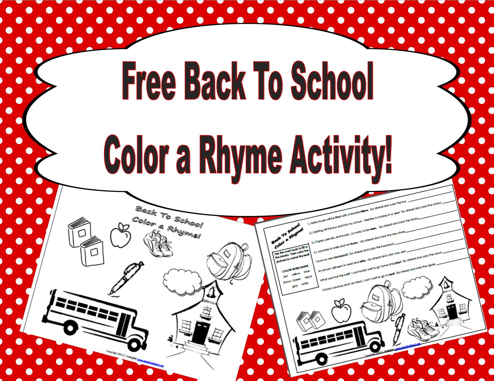 Back To School Color a Rhyme Free at Teaching Heart