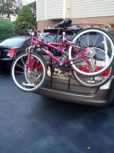 bikes on for triathlon