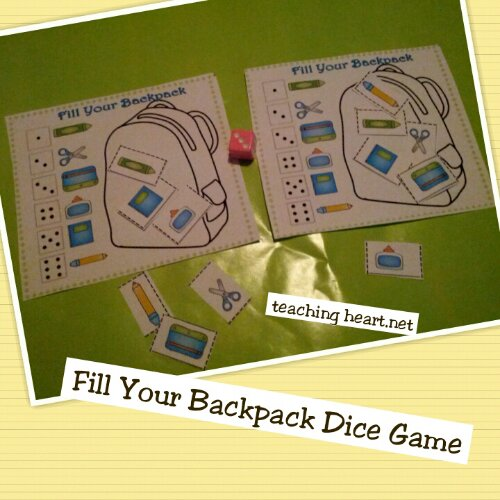 Fill a backpack dice game - free