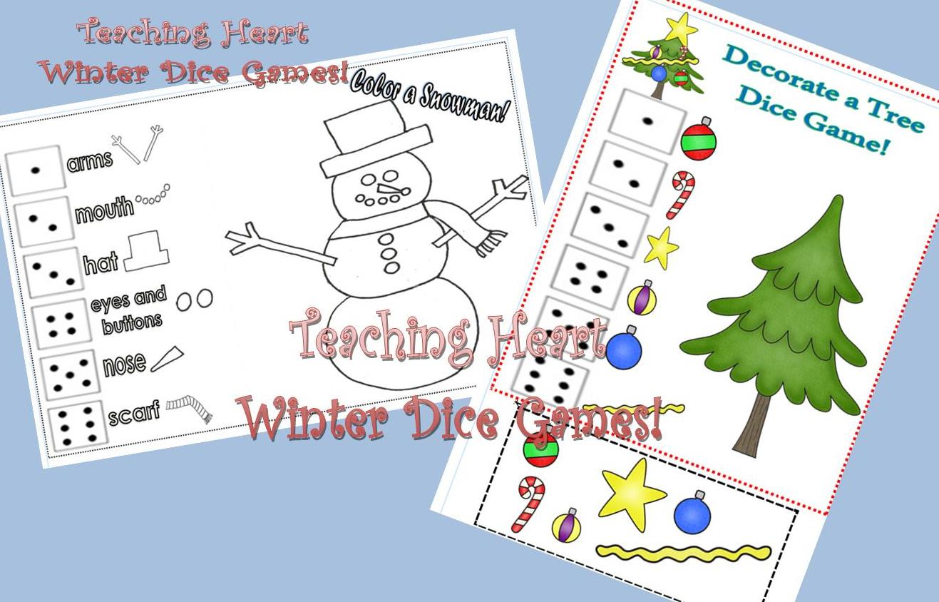 Winter and Christmas Dice Games - Color a Snowman - Decorate a Tree!