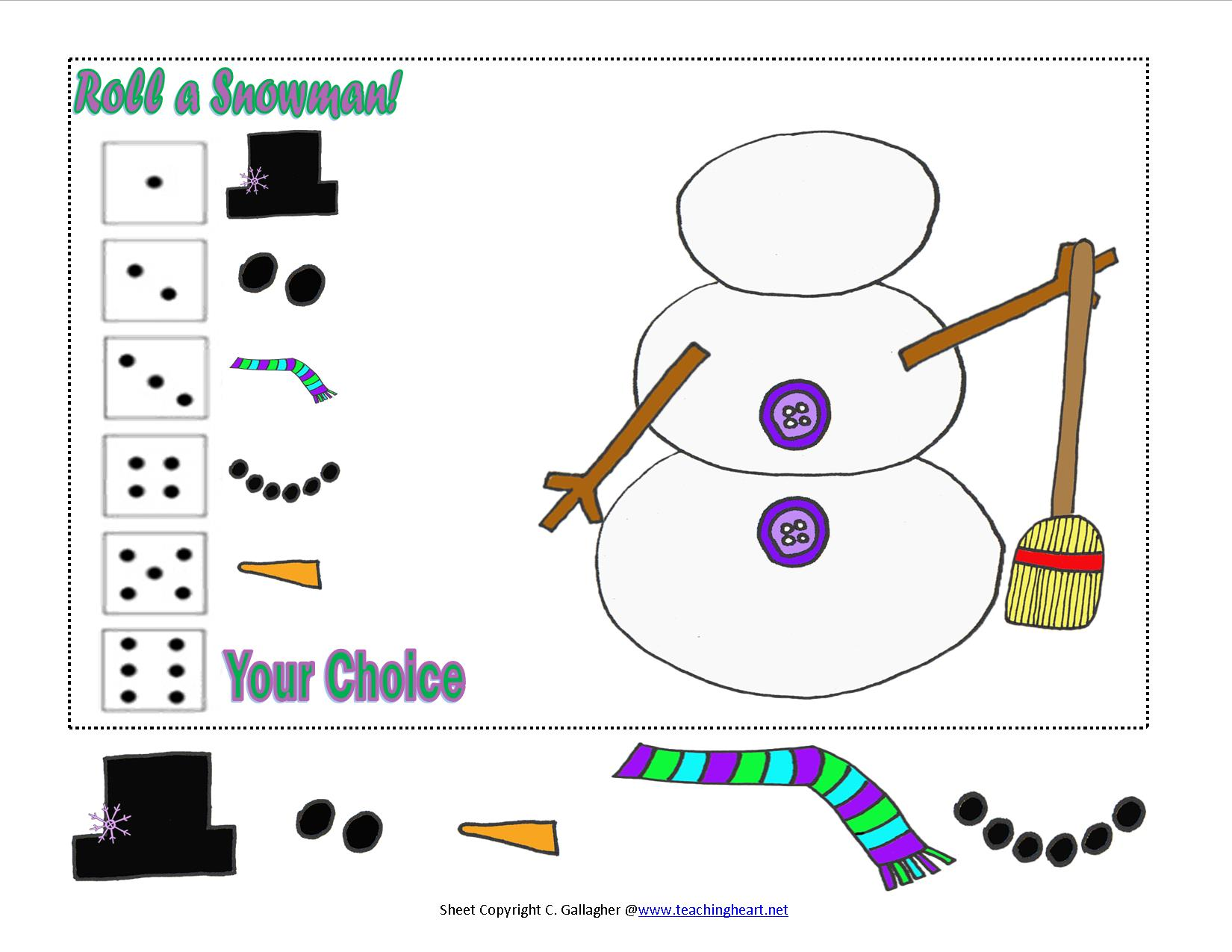 Roll a Snowman and New Snowman Packet - Teaching Heart Blog Teaching ...