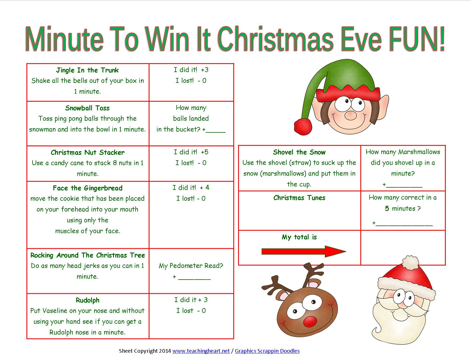 Minute To Win It Christmas.Christmas Printables For Next Year Teaching Heart Blog