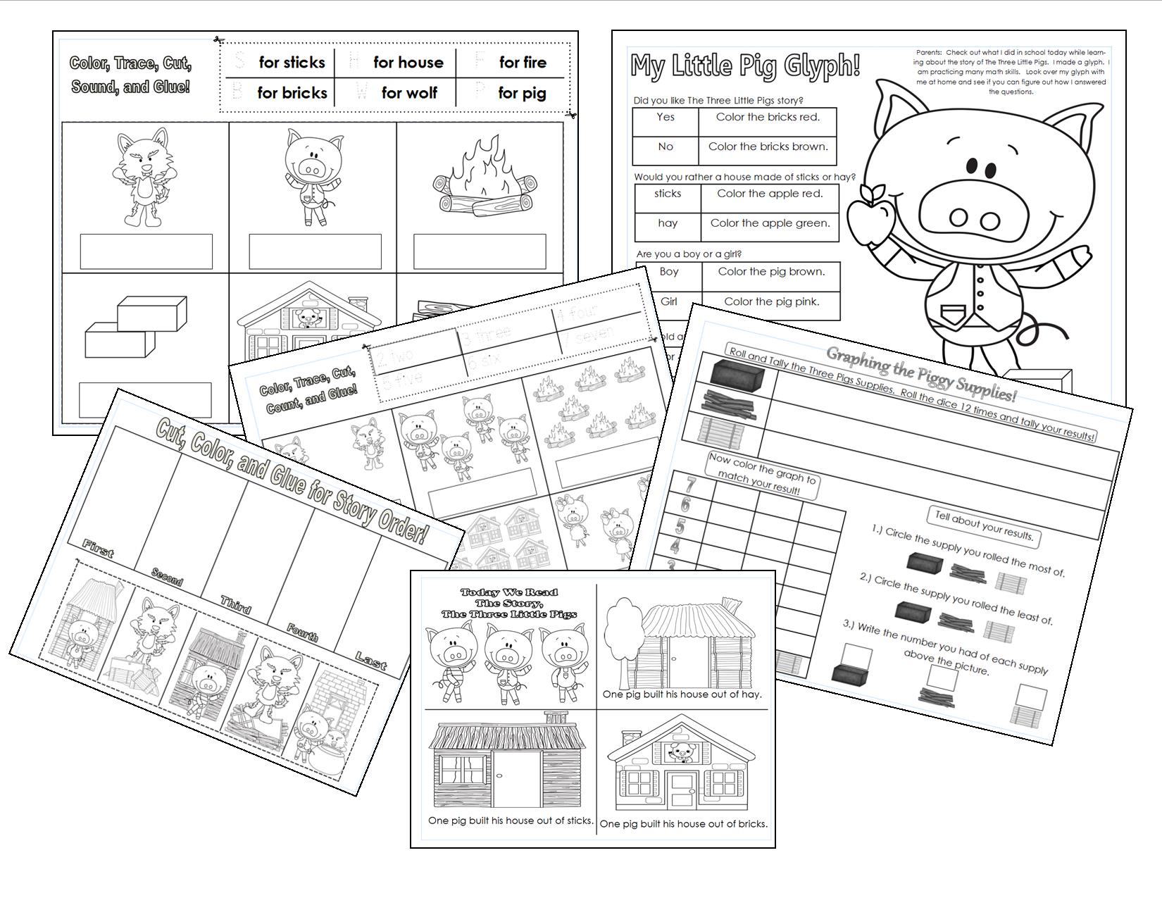 Coloring pages 3 little pigs - The Three Little Pigs Printables