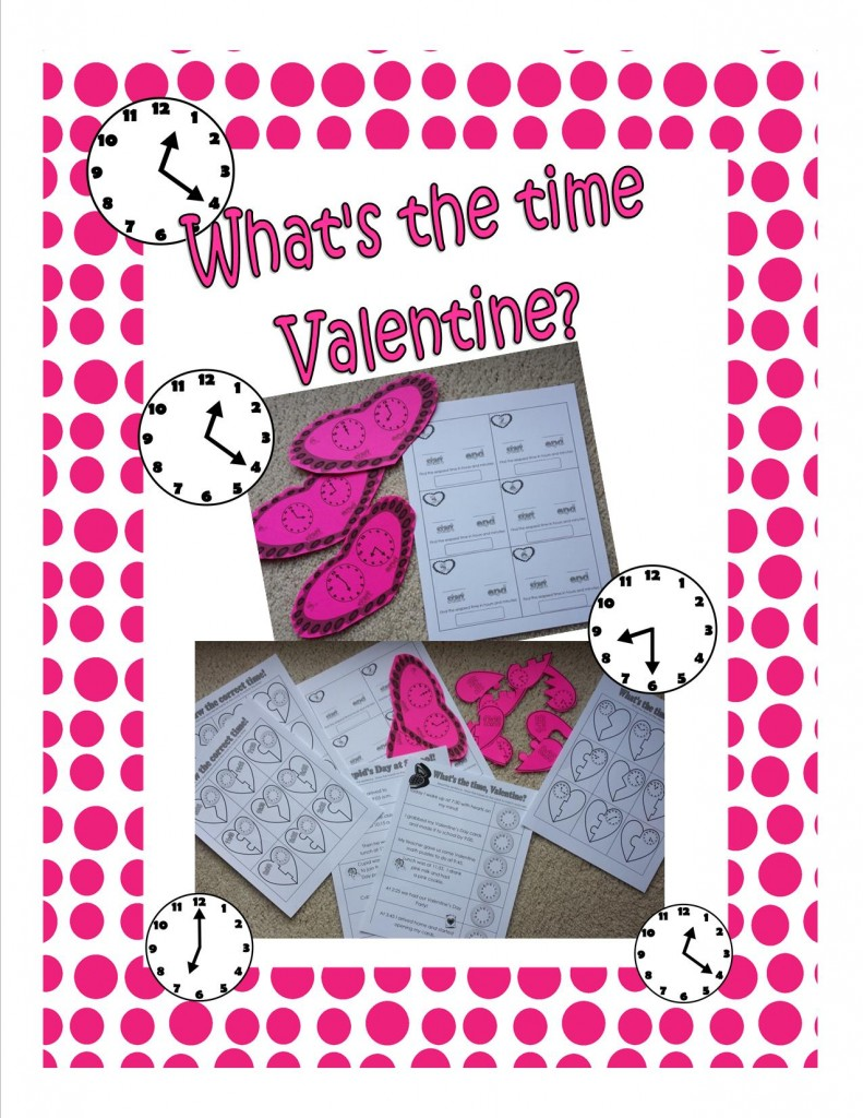 valen-time - What Time Is It, valentine.  Telling Time Printables
