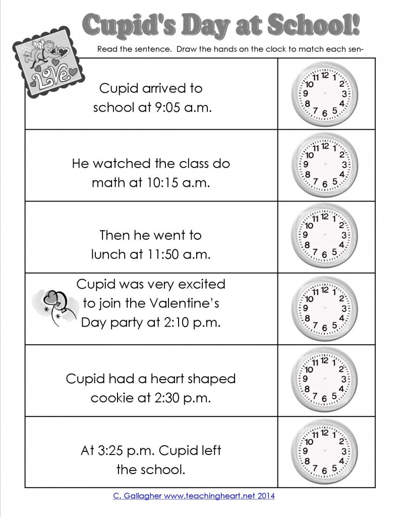 Cupid's Day Activity Sheet for Telling Time Practice