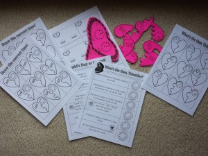 Telling Time VAlentine Activity Sheets Five Minutes