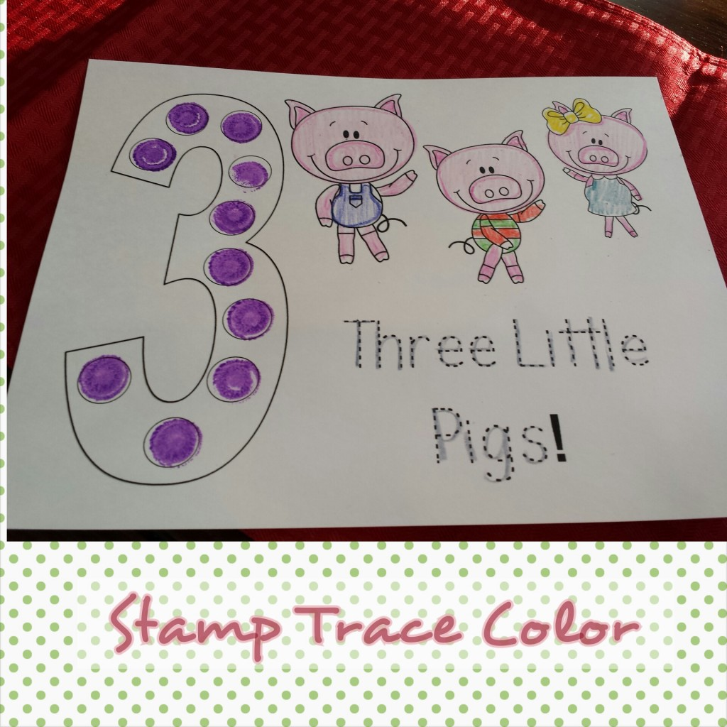 Three Little Pigs Stamp, Color, Trace