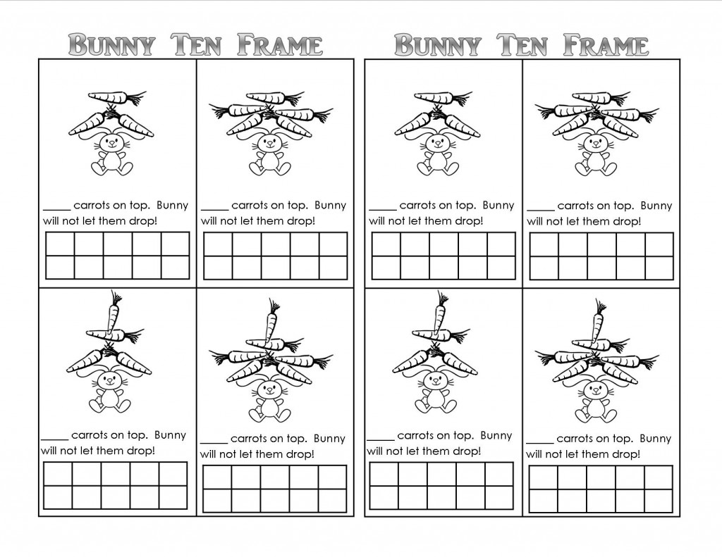 Bunny Ten Frame Worksheet - 10 on Top