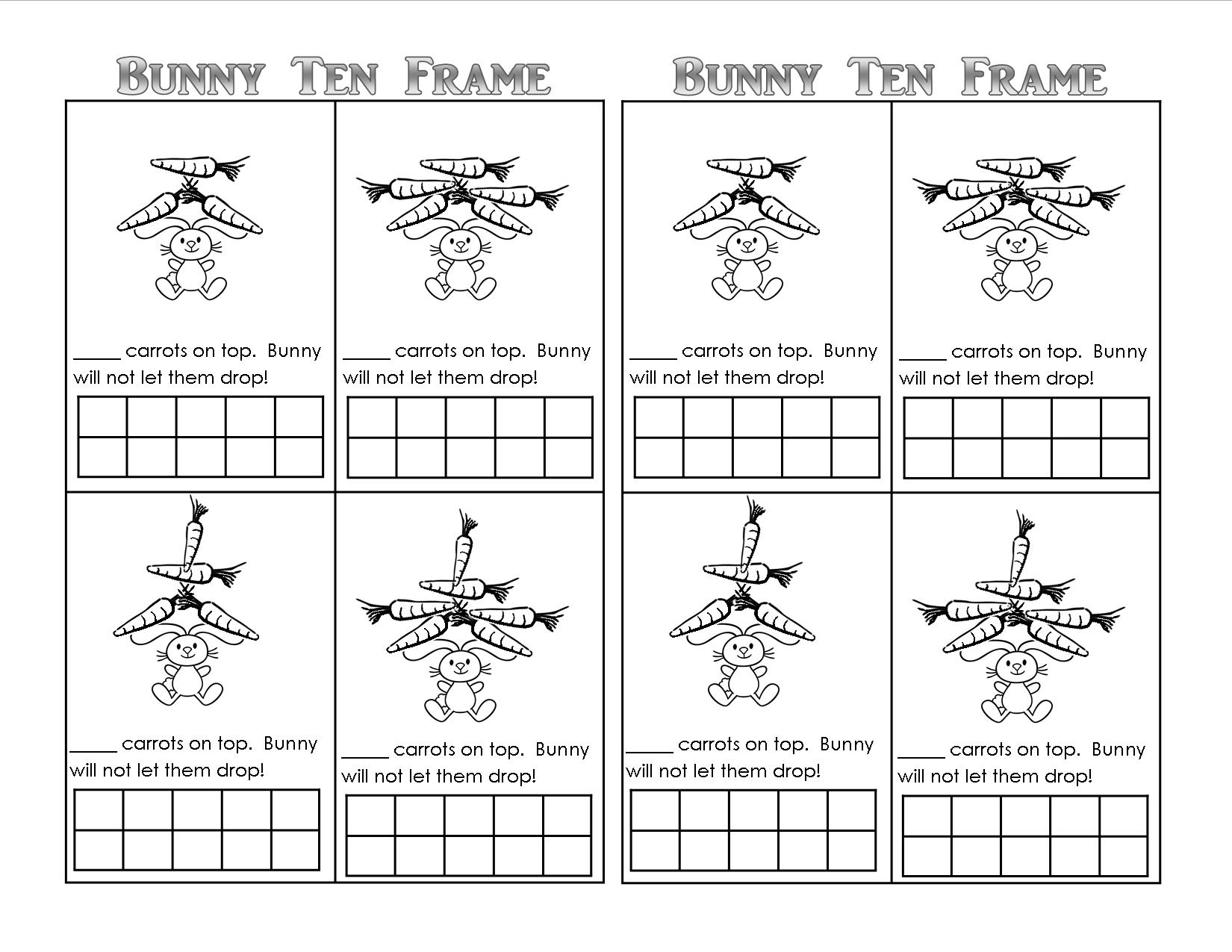 Worksheets Ten Frame Worksheets Kindergarten bunny time ten frame free printables teaching heart blog worksheet 10 on top