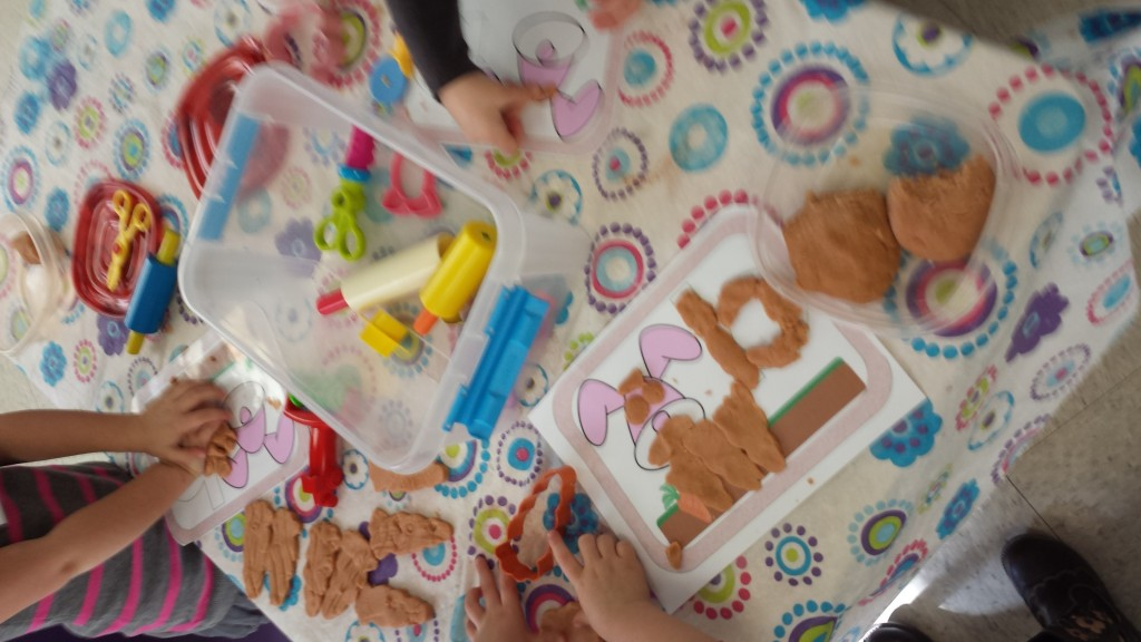 fun with bunny play-dough mats
