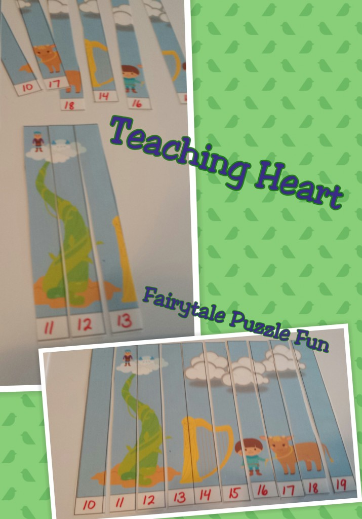 Counting or ABC puzzle with a Jack and the BEanstalk Theme