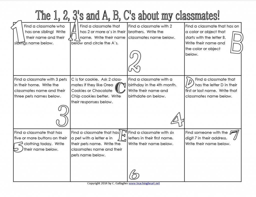 Free to Print Get to Know you Back to School Activity Game