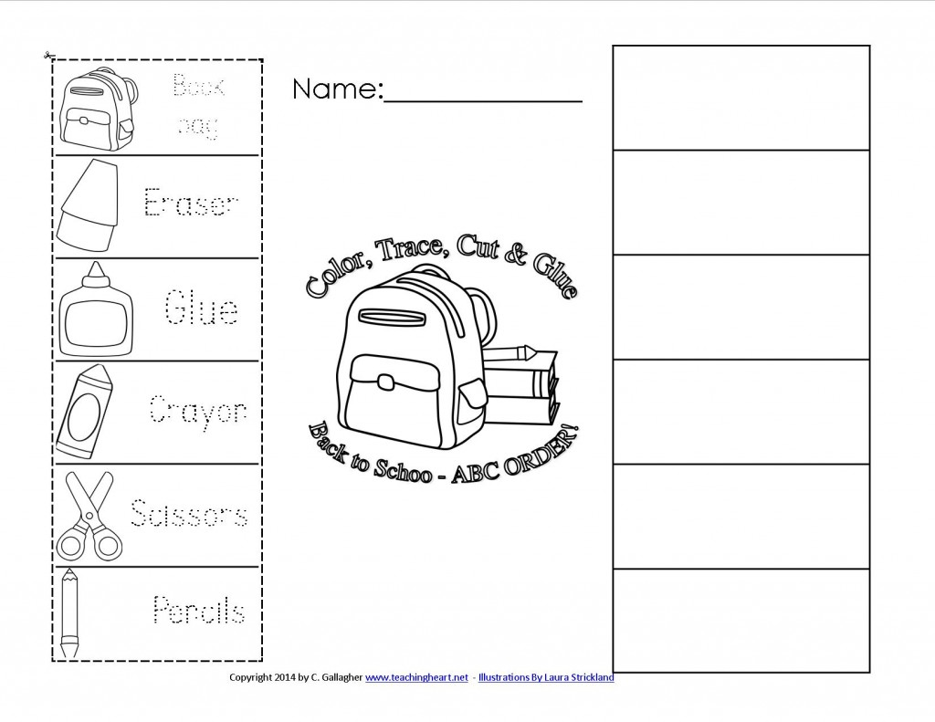 BAck to School Color, Trace, Cut, and Paste in ABC Order Free Sheet!