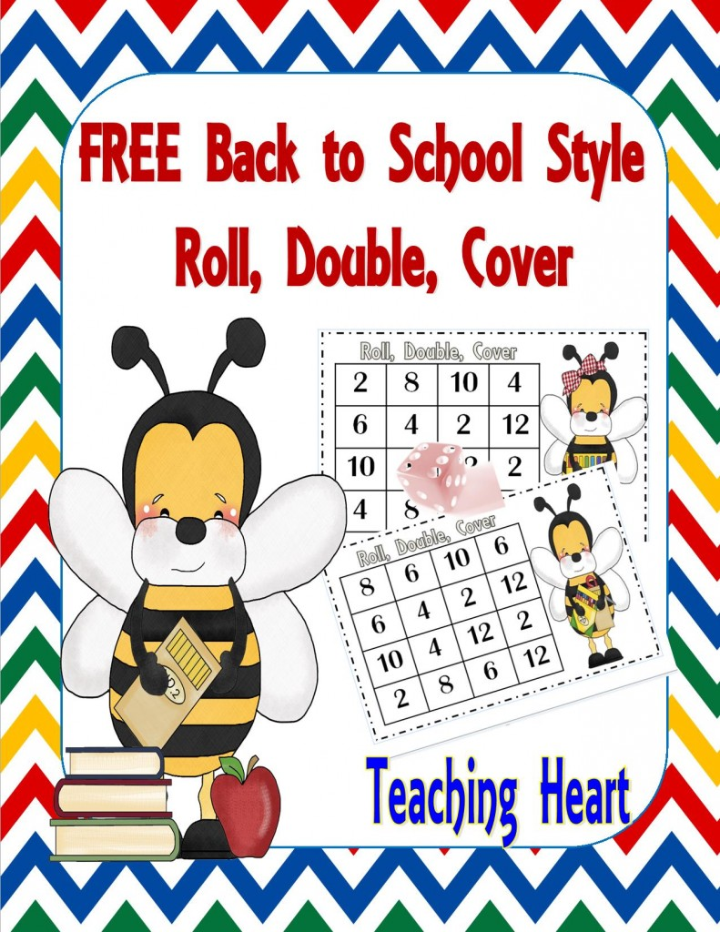 Free Doubles Roll and Cover Bee Back to School Themed!