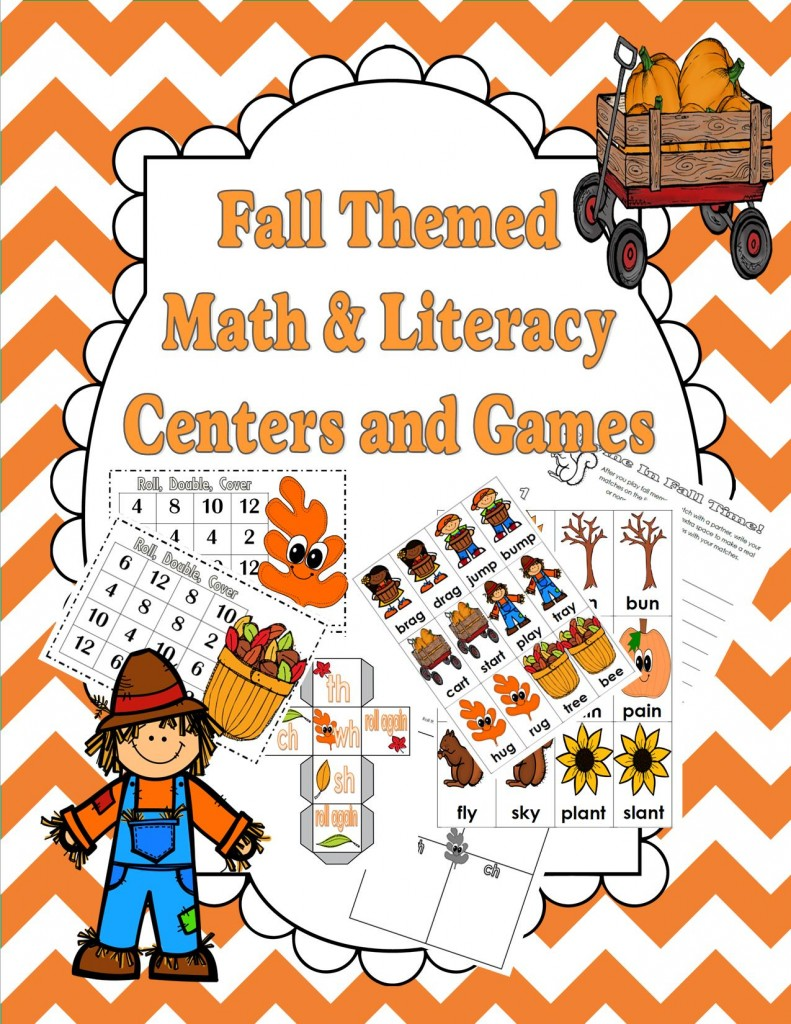 Fall Themed Math and Literacy Centers
