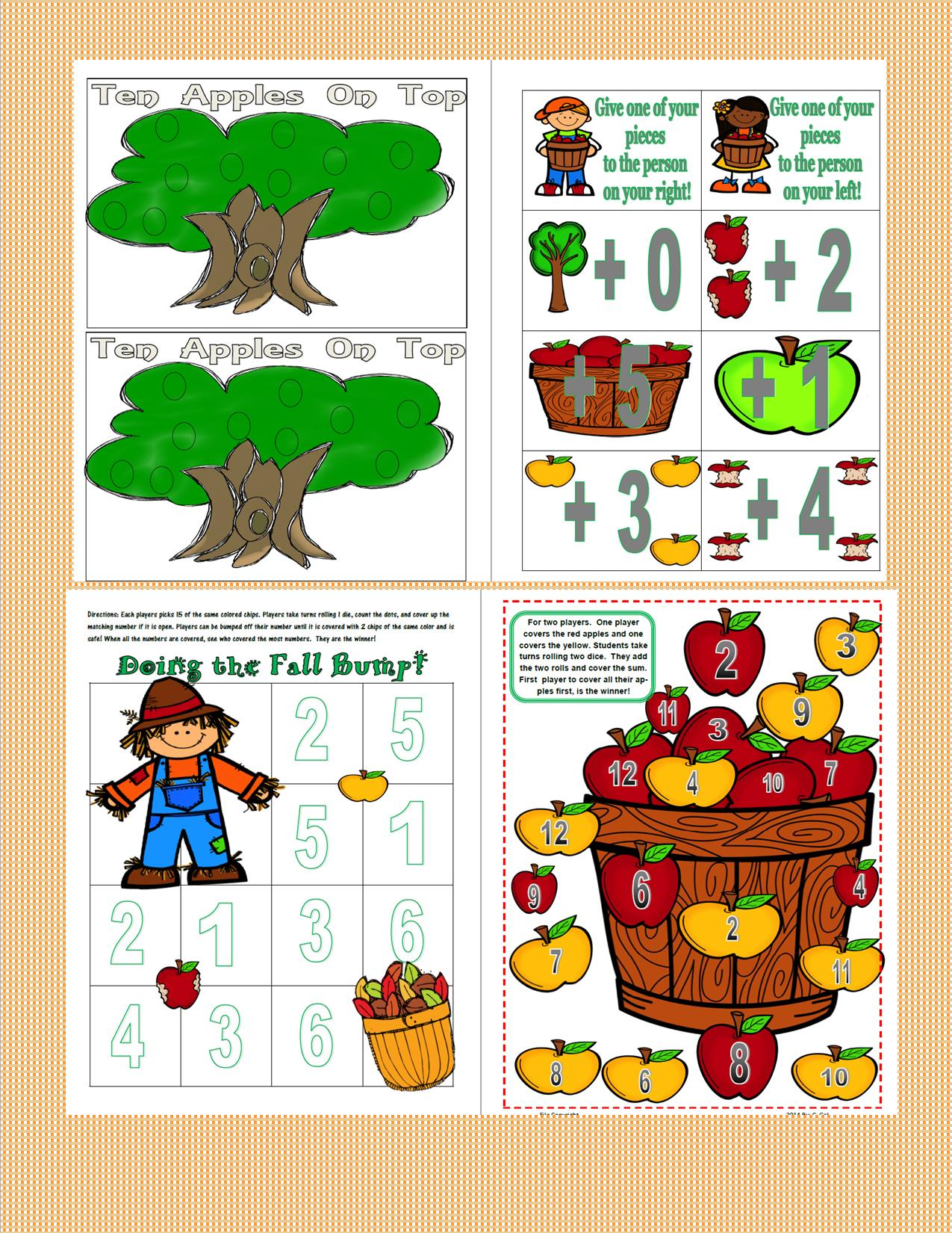 Classroom Birthday Party Games ~ Fall themed games for math and reading teaching heart