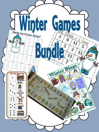 Winter and Christmas Classroom Party Games Centers