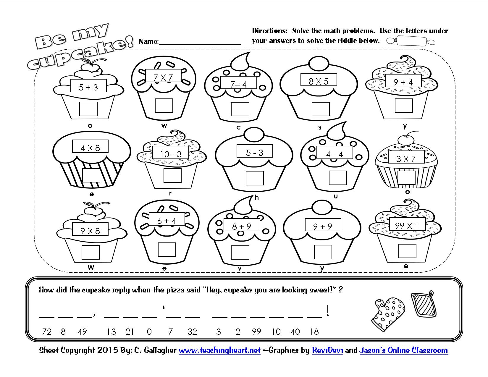 A Cupcake for You and 100th Day Fun Teaching Heart Blog Teaching – Math Riddles Worksheets