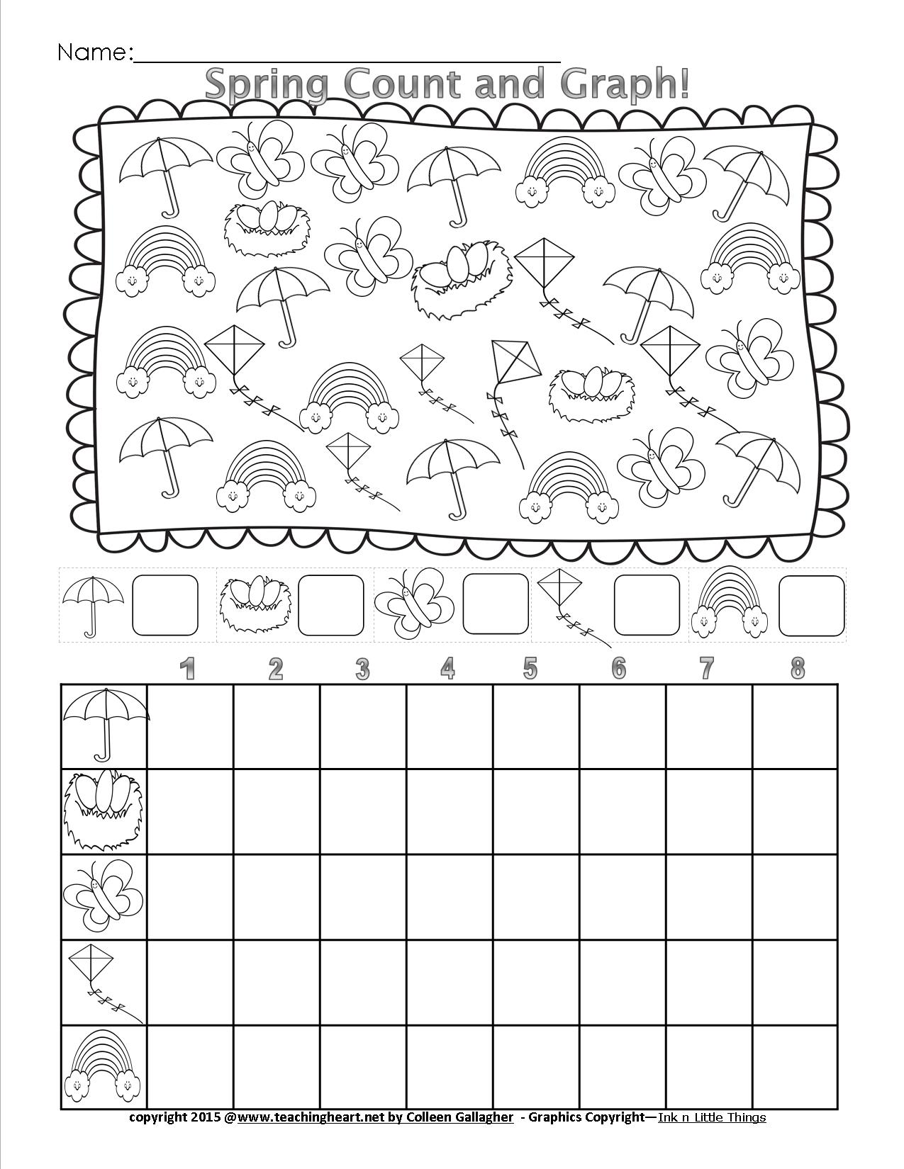 Worksheets Graphing Pictures Worksheets spring count and graph free teaching heart blog counting graphing worksheet free