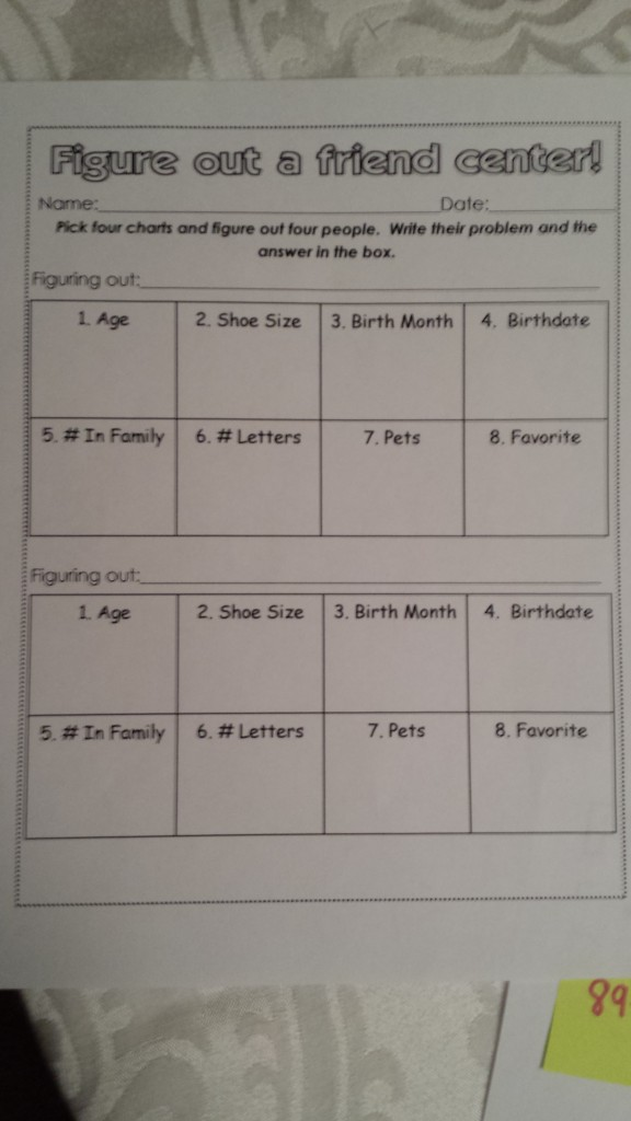 Figure me out center sheet